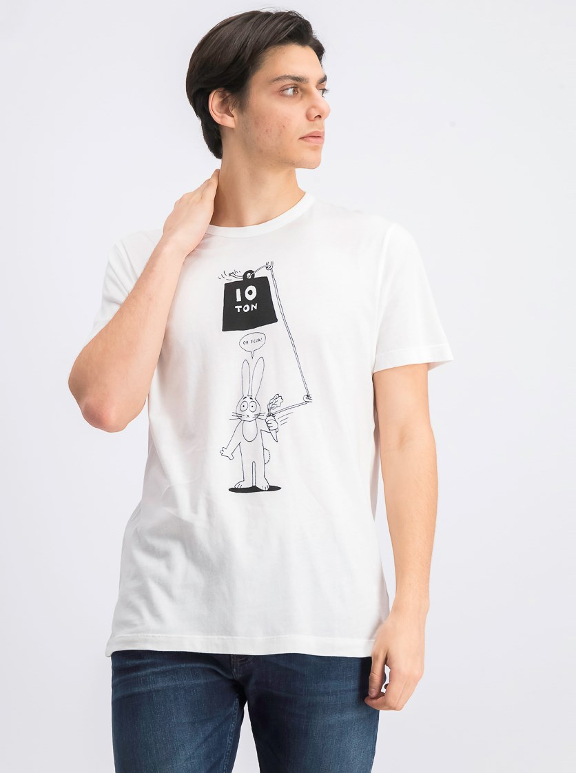 Men's 10 Tons Bunny Print Tee, White