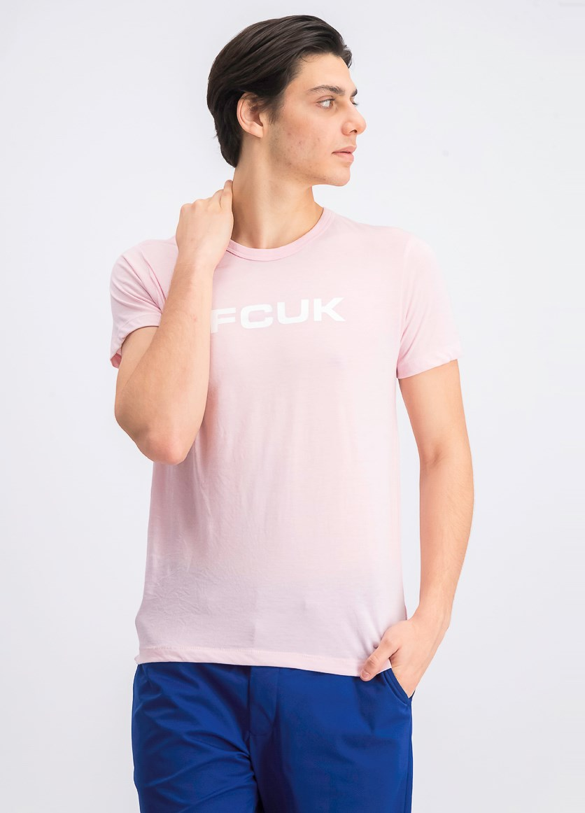 Men's Graphic Crew Neck T-Shirt, Pink