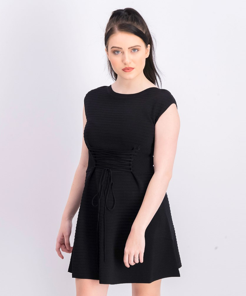 Women's Katie Crepe Knits Lace Up Dress, Black