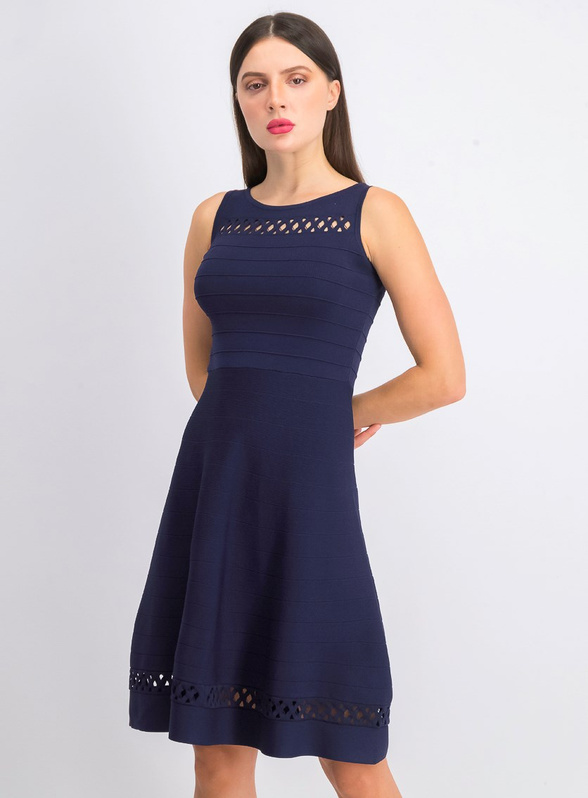 Women's Sleeveless Cutout Fit & Flare Dress, Duchess Blue