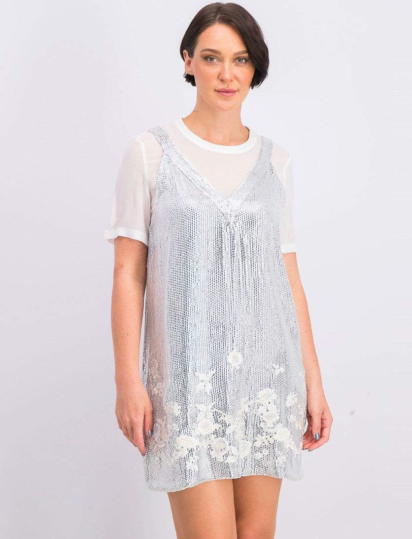 Women's Ello Sparkle Sequin Shift Dress, Winter White/Silver