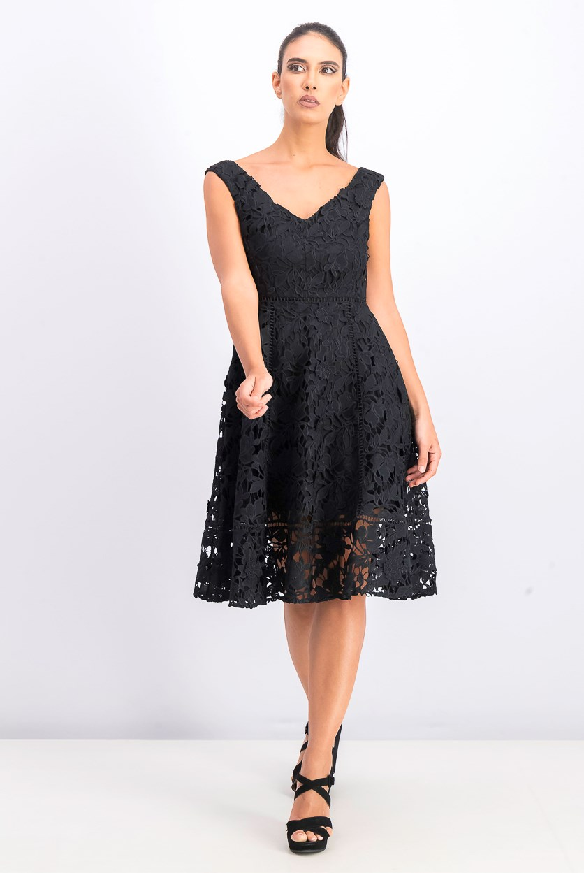 Women's Blossom Lace Bardot Dress, Black