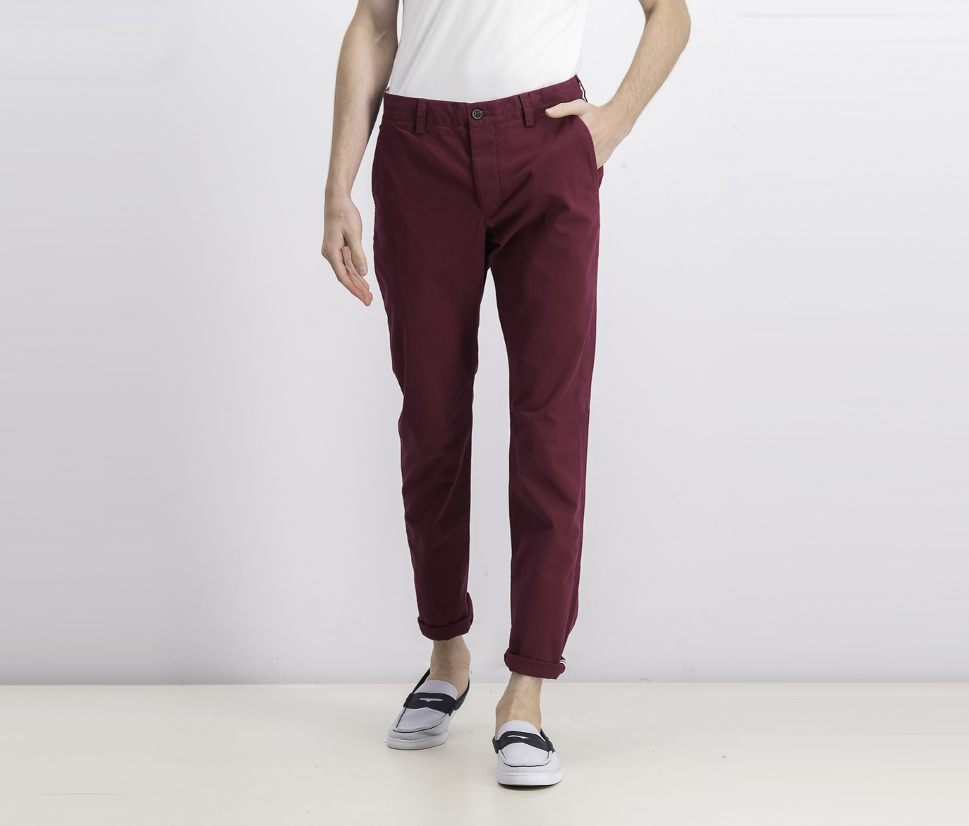 Men's Machine Gun Stretch Slim Pants, Raspberry Beret Red