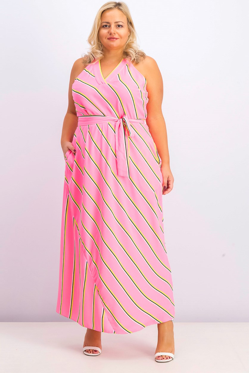 Womens Jacey Racerback Maxi Dress, Pink Combo