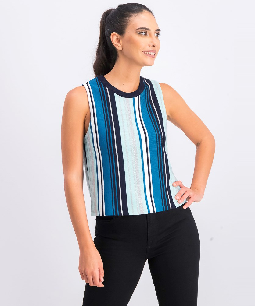 Women's Stripe Knit Tank Top, Ocean Combo