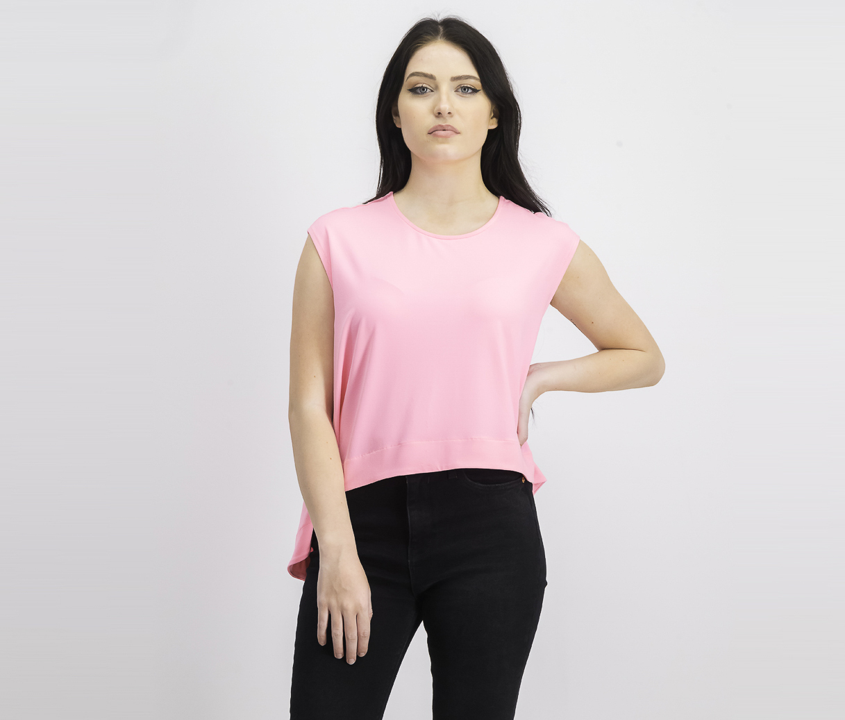 Women's Asymmetrical Crop Top, Neon Flamingo
