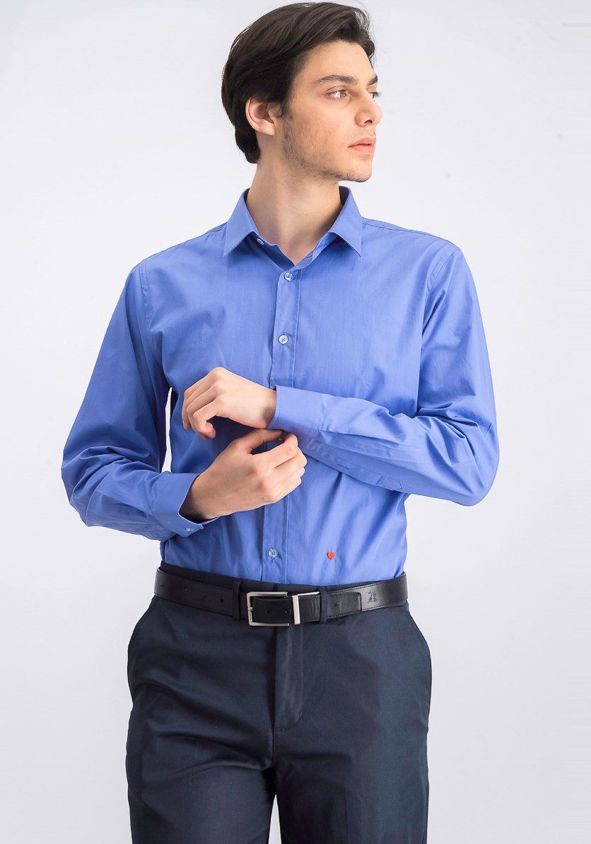 Men's Dress Shirt Long Sleeve, Light Navy