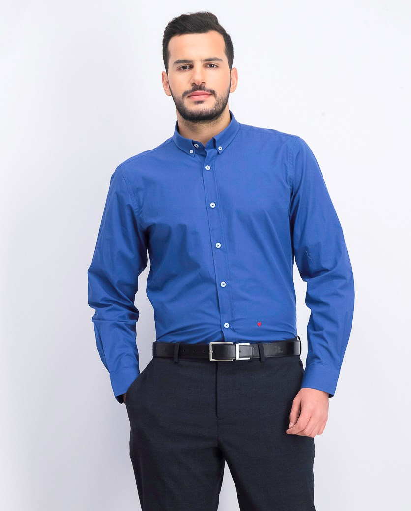 Men's Long Sleeve Button Down Shirt, Blue