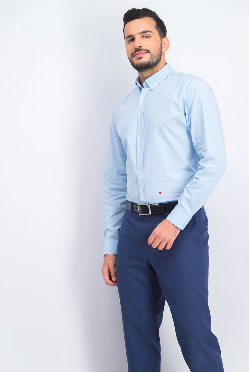 Men's Long Sleeve Dress Shirt, Light Blue