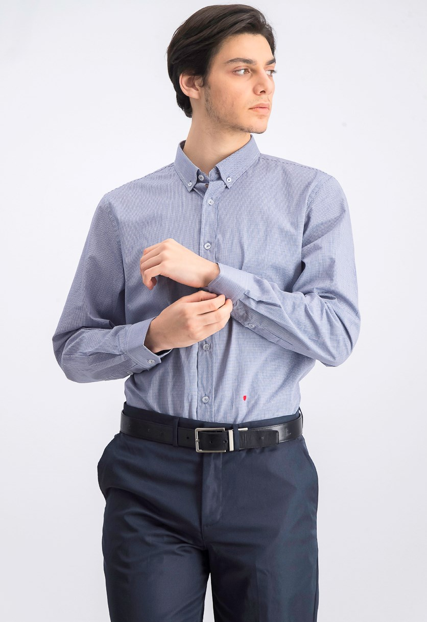 Men's Long Sleeve	Striped Shirt, Navy Check