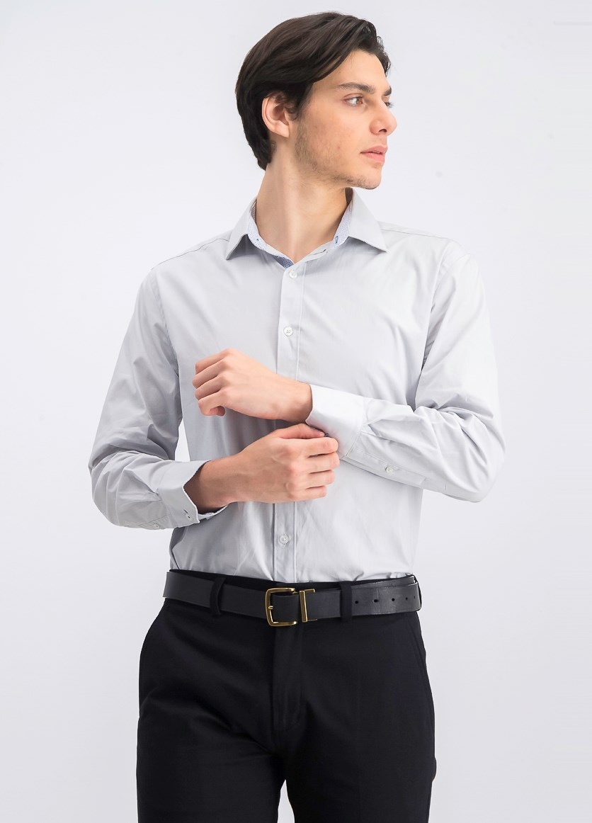 Men's Slim-Fit Performance Stretch Solid Dress Shirt, Grey
