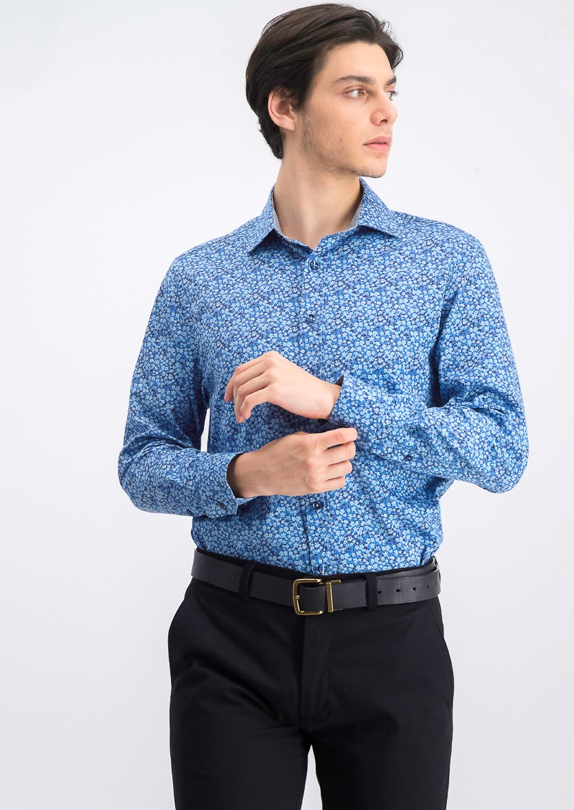 Men's Slim-Fit Floral Shirt, Blue