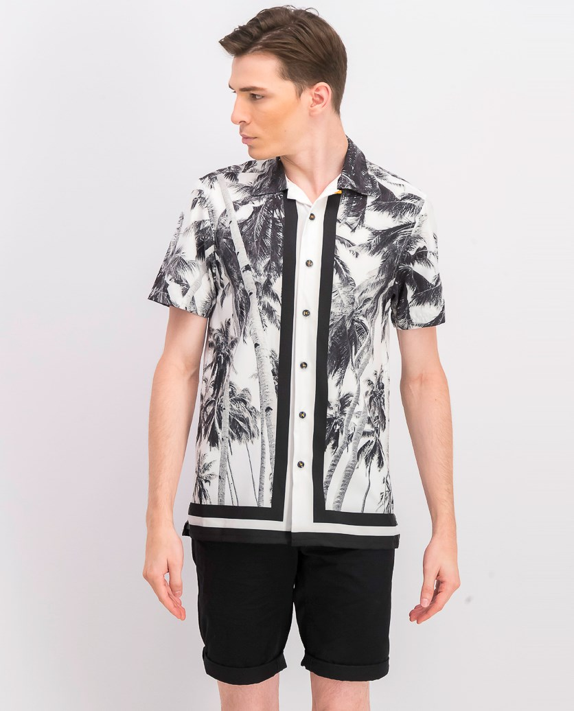 Men's Slim-Fit Stretch Palm Tree Short Sleeve, Black Combo