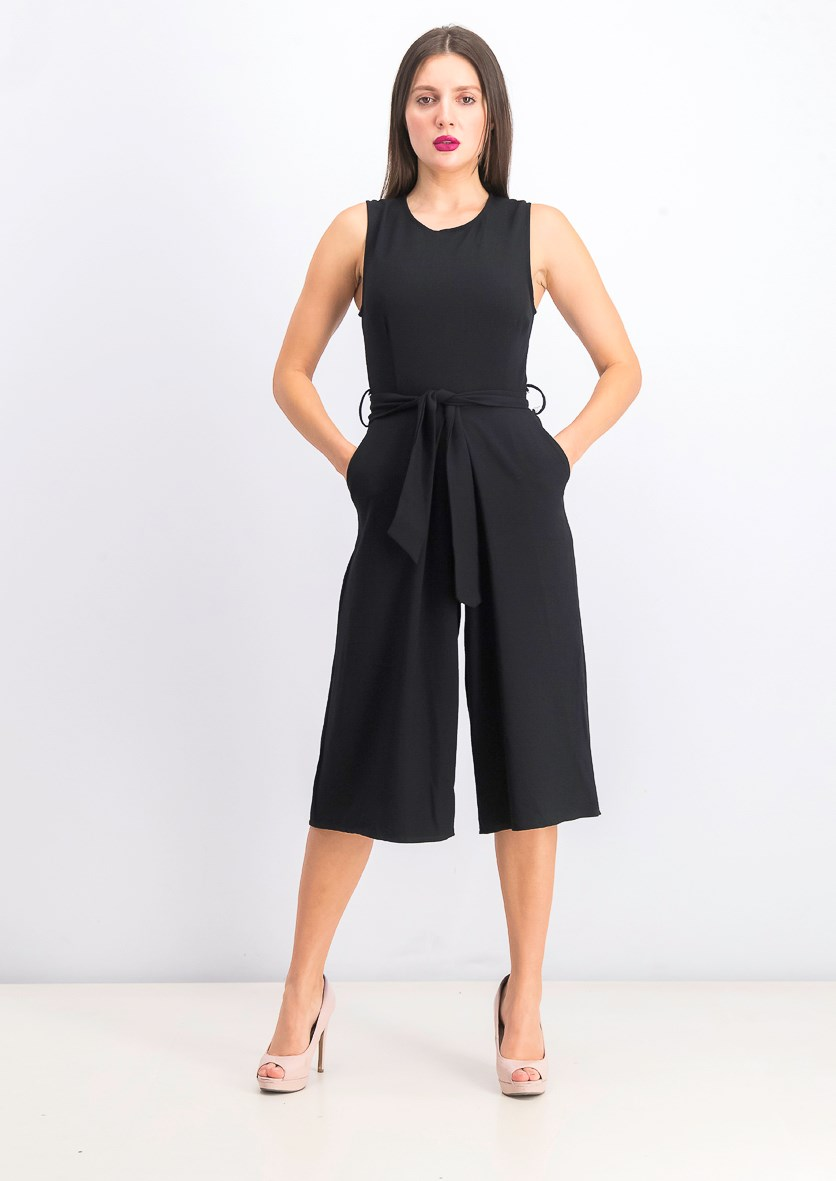 Womens Belted Jumpsuit, Black