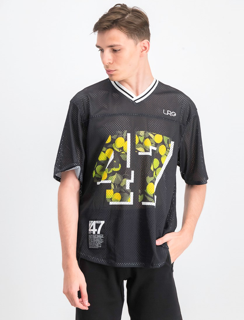 Men's Football Jersey Graphic T-Shirt, Black