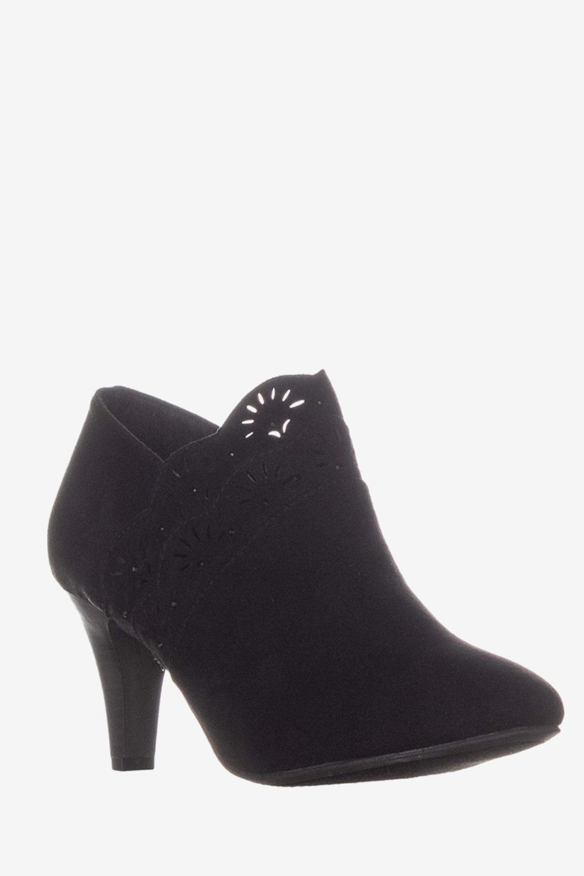 Marana Black Perforated Ankle Boots, Black