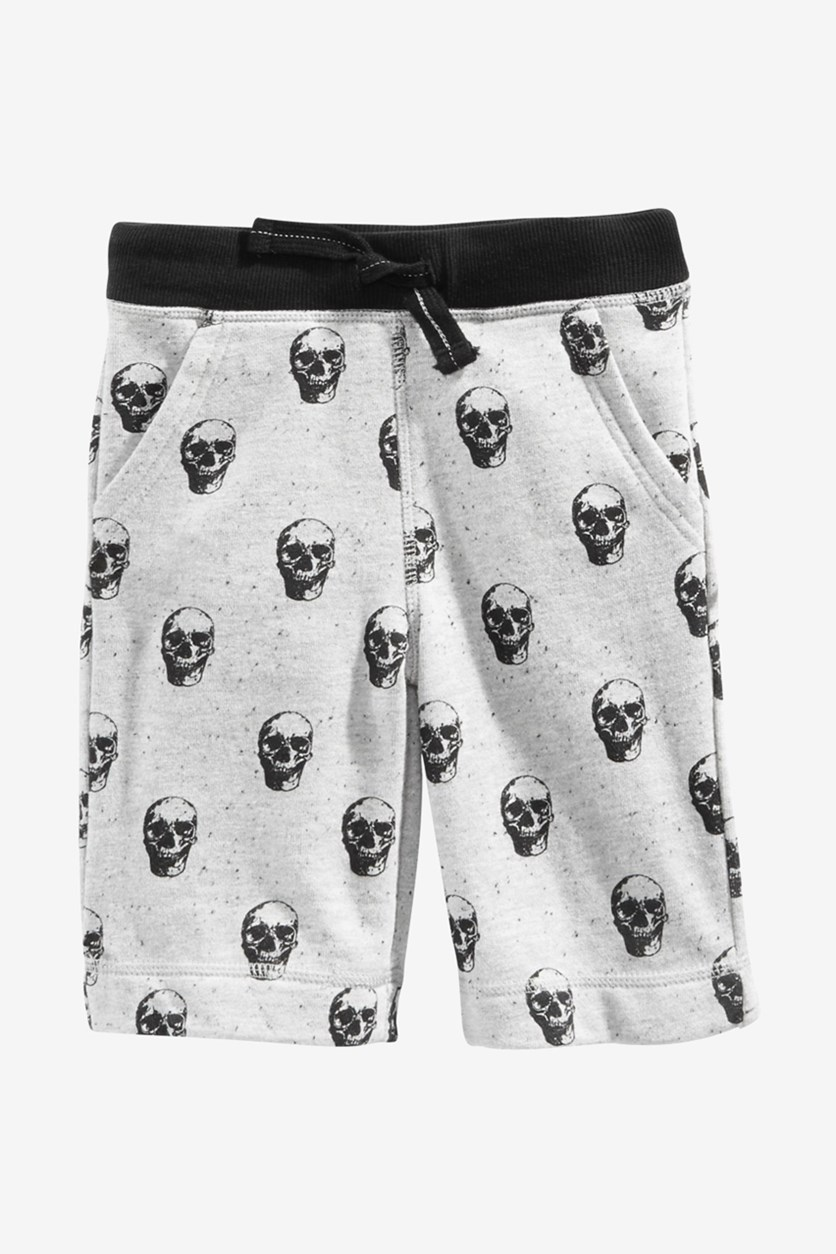 Baby Boys Skull Shorts, Grey Heather