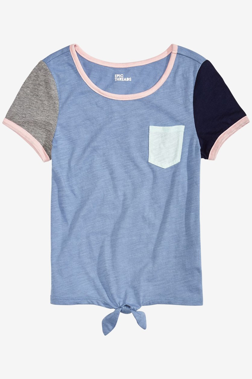 Big Girls Colorblocked Tie-Front T-Shirt, Blue Comboc
