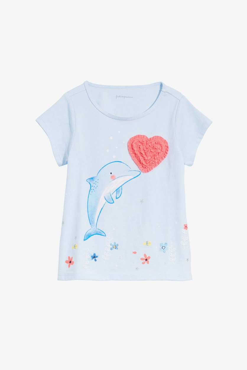 Toddler Dolphin Print Tee, Soft Shore