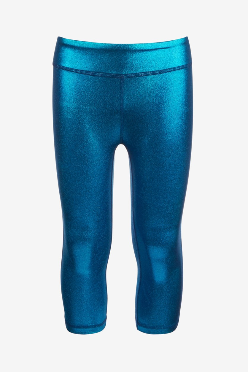 Big Girls Shiny Capri Leggings, Lucky Blue