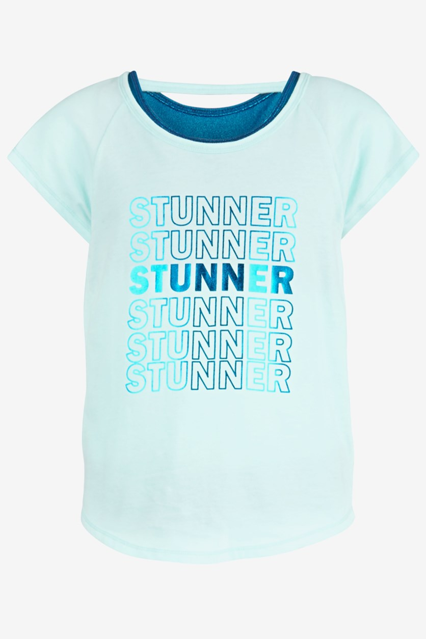 Big Girls Stunner-Print Layered-Look T-Shirt, Blue Light