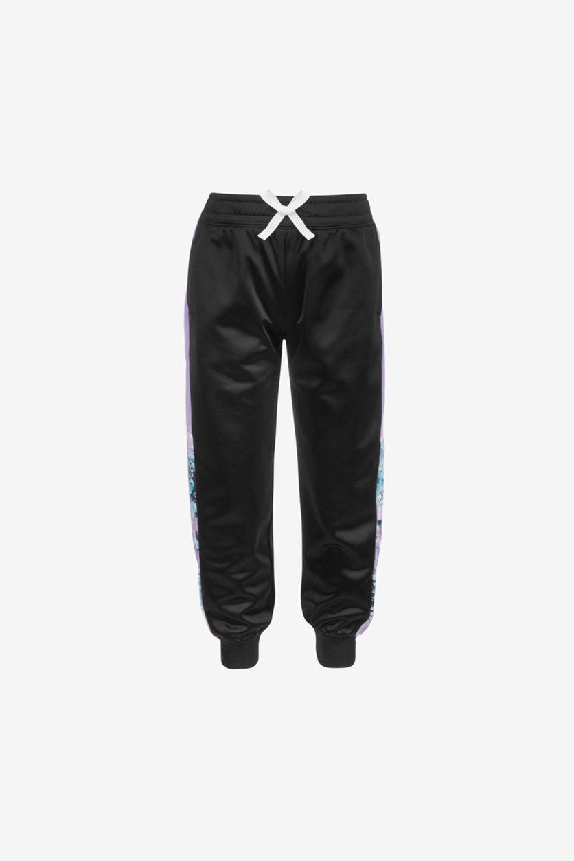 Little Girls Colorblocked Track Pants, Black/Lavender