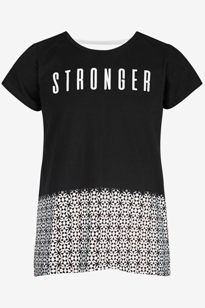 Kids Girls Stronger Graphic T-Shirt,  Black