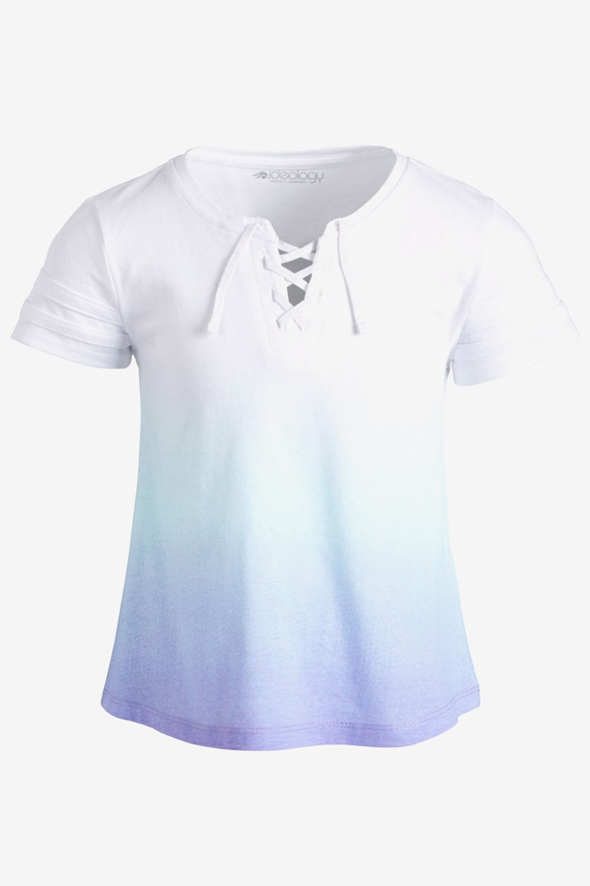 Kids Girls Lace-Up Ombre T-Shirt, Cool Dip