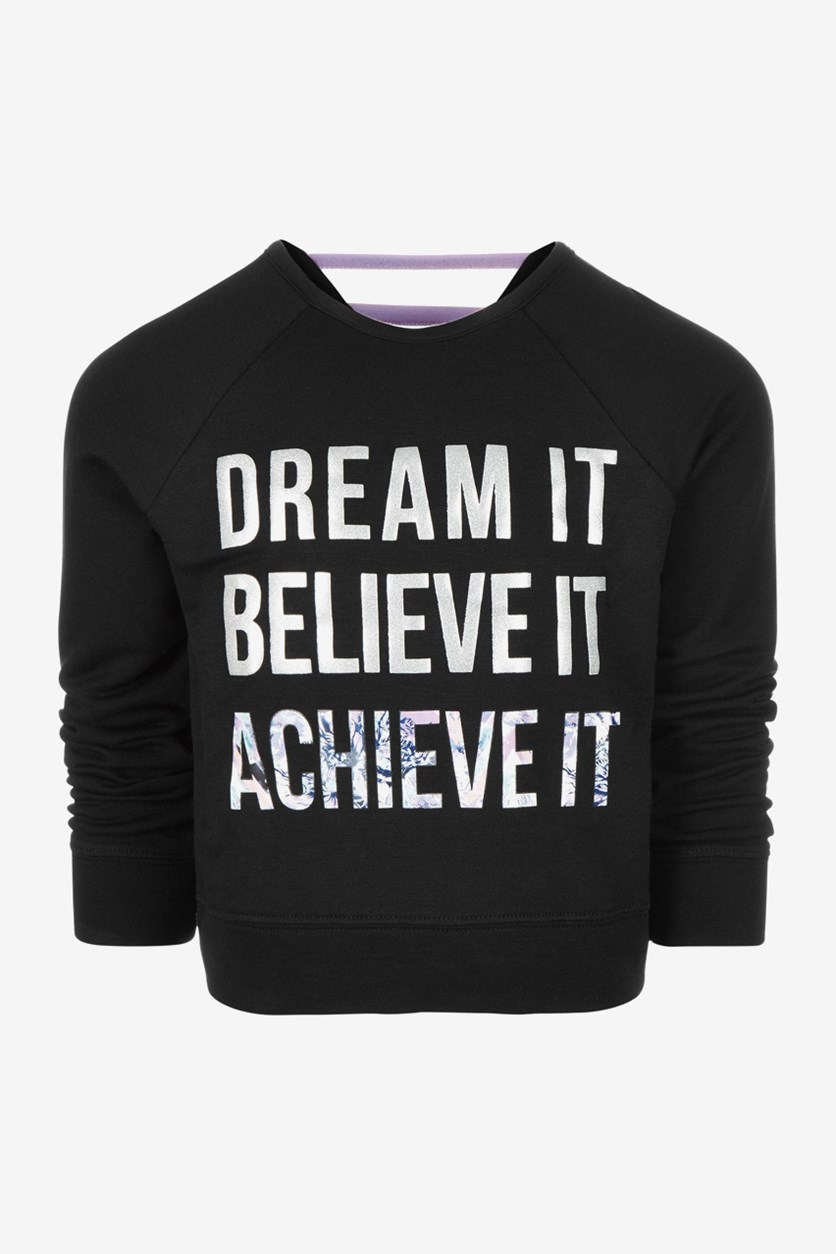 Kids Girls Dream It Graphic Top, Black