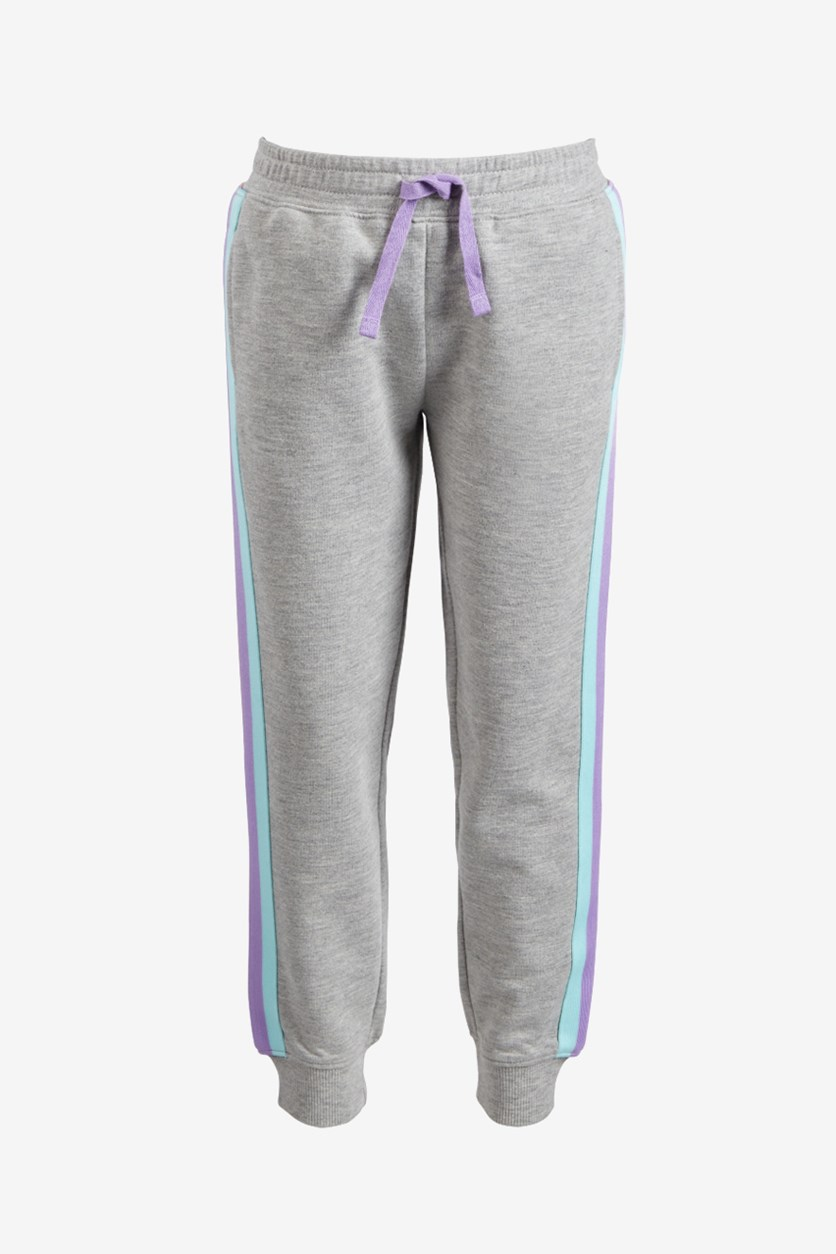 Toddler Girls Side-Striped Jogger Pants, Gray Combo