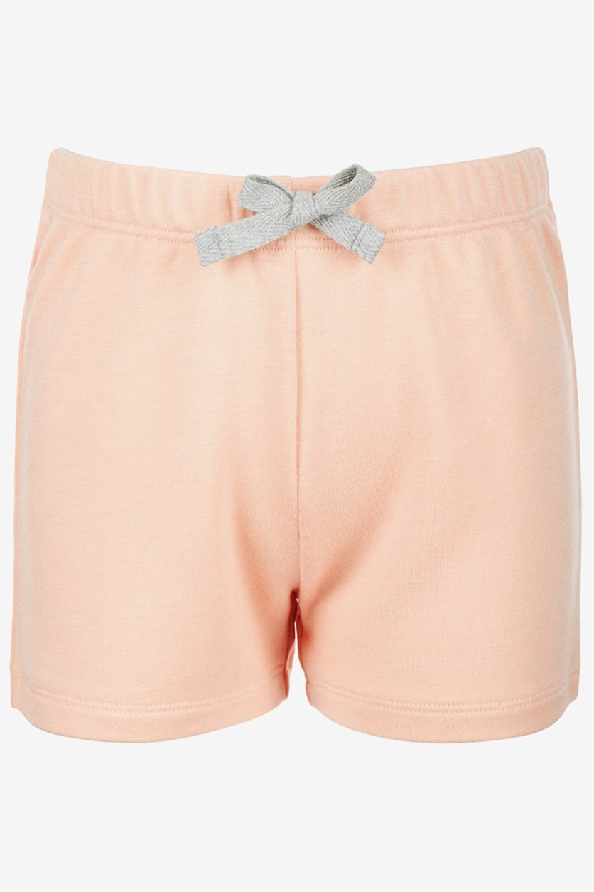 Little Girls Bow-Waist Shorts, Iced Peach