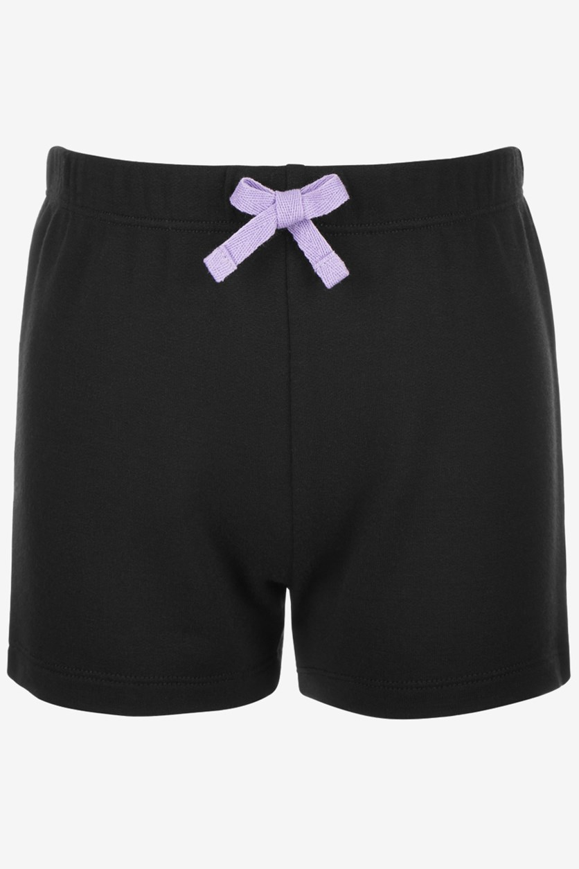 Toddler Girls Bow-Waist Shorts, Noir