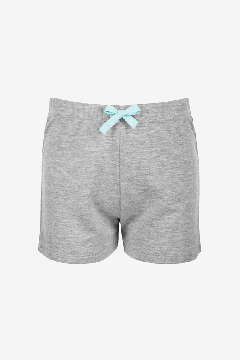 Little Girls Bow-Waist Shorts, Heather Grey