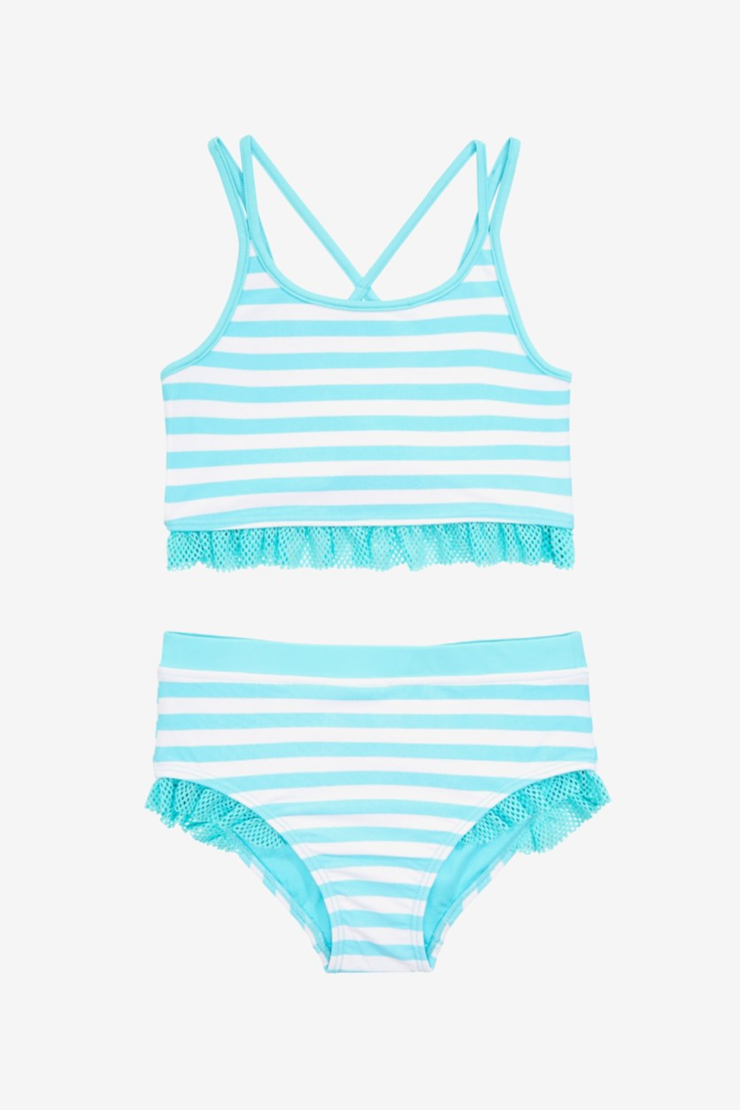 Kid Girl's 2 Pcs Stripe Tankini, Turquoise
