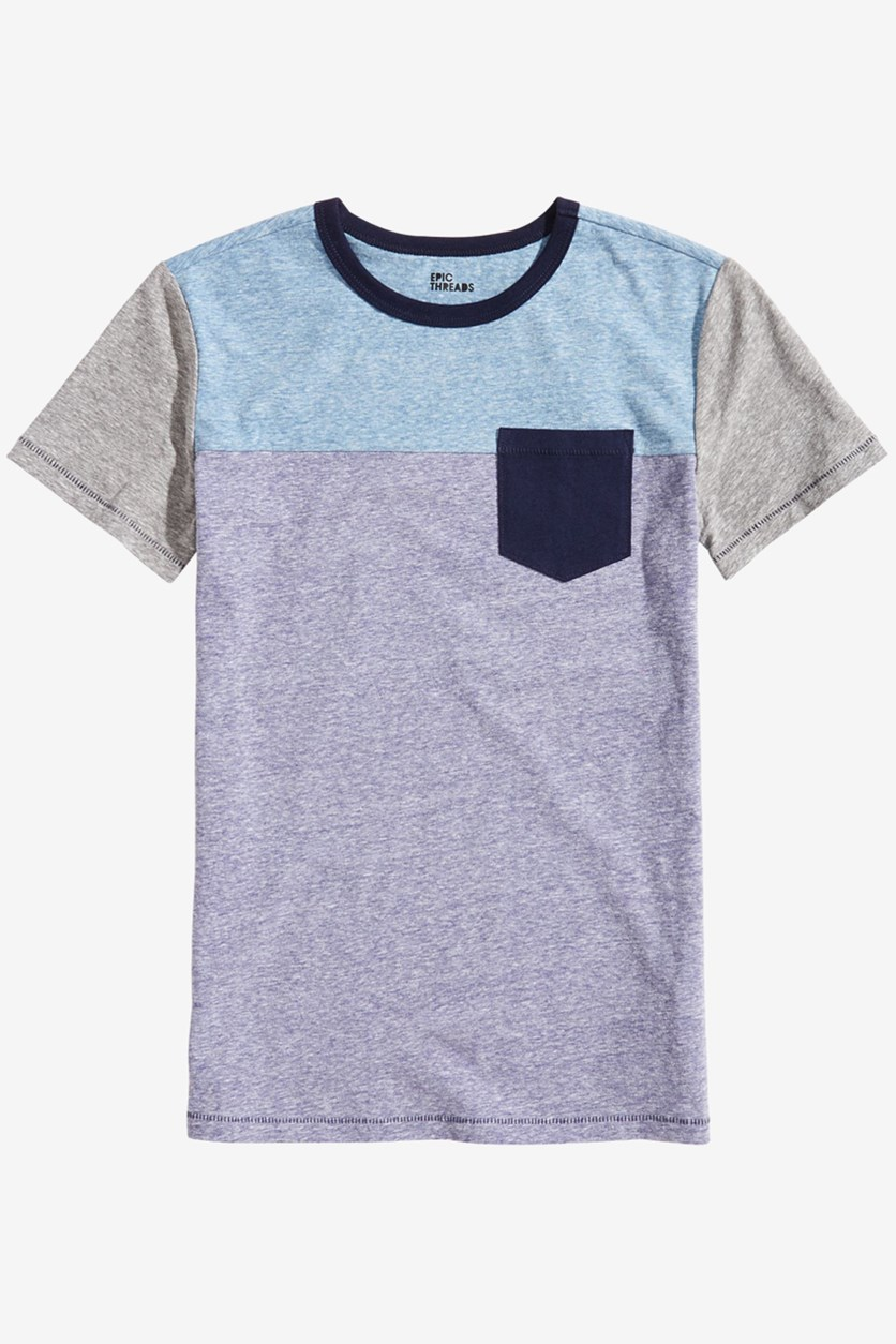 Toddler Boys Colorblocked Pocket T-Shirt, Blue Combo