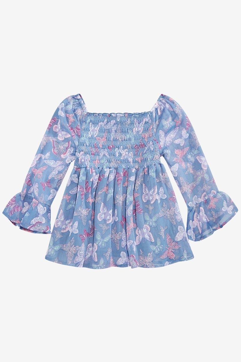 Big Girls Smocked Butterfly-Print Top, Blue Ash Stone