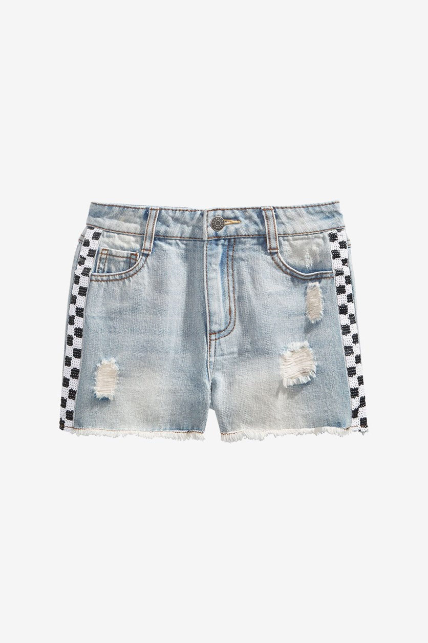 Big Girls Sequin Check Cotton Denim Shorts, Paris Wash