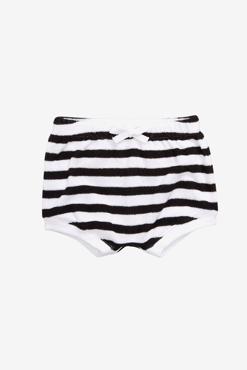 Baby Girls Striped Bloomer Shorts, Black Solar