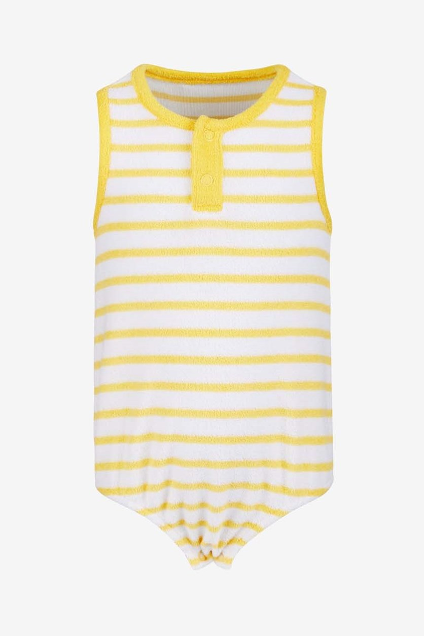 Baby Boys or Girls Striped Terry Cotton Romper, Sun Yellow