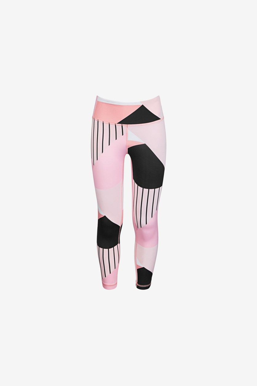 Big Girl's Colorblocked High-Rise Ankle Leggings, Triangle Pink