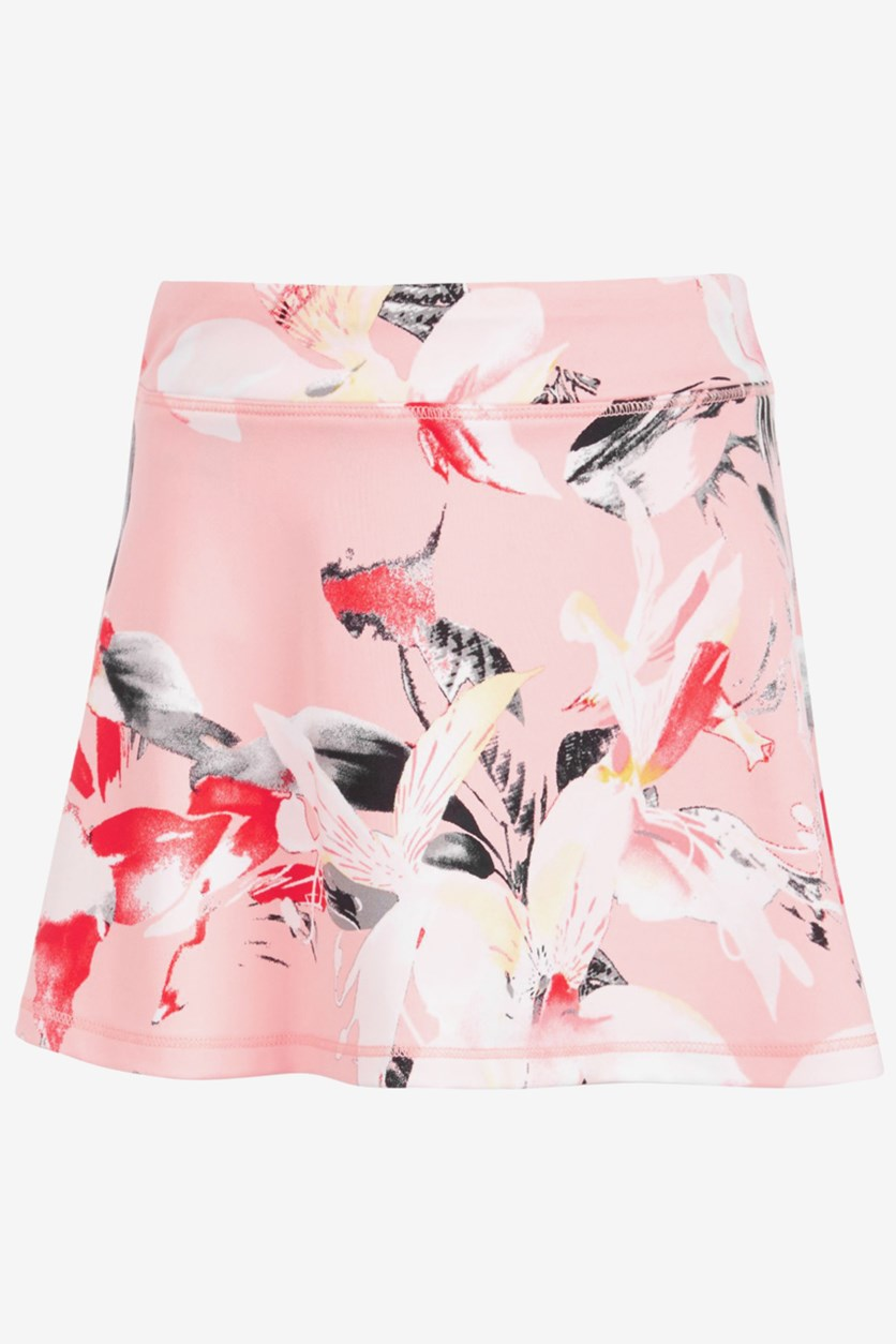 Toddler Girls Print Skort, Floral Pink