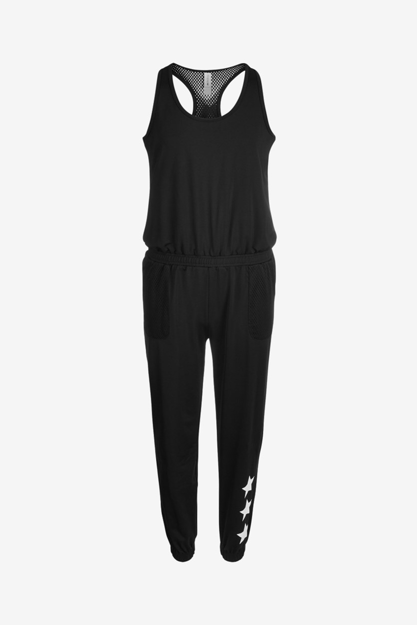 Big Girls Racerback Mesh Jumpsuit, Black