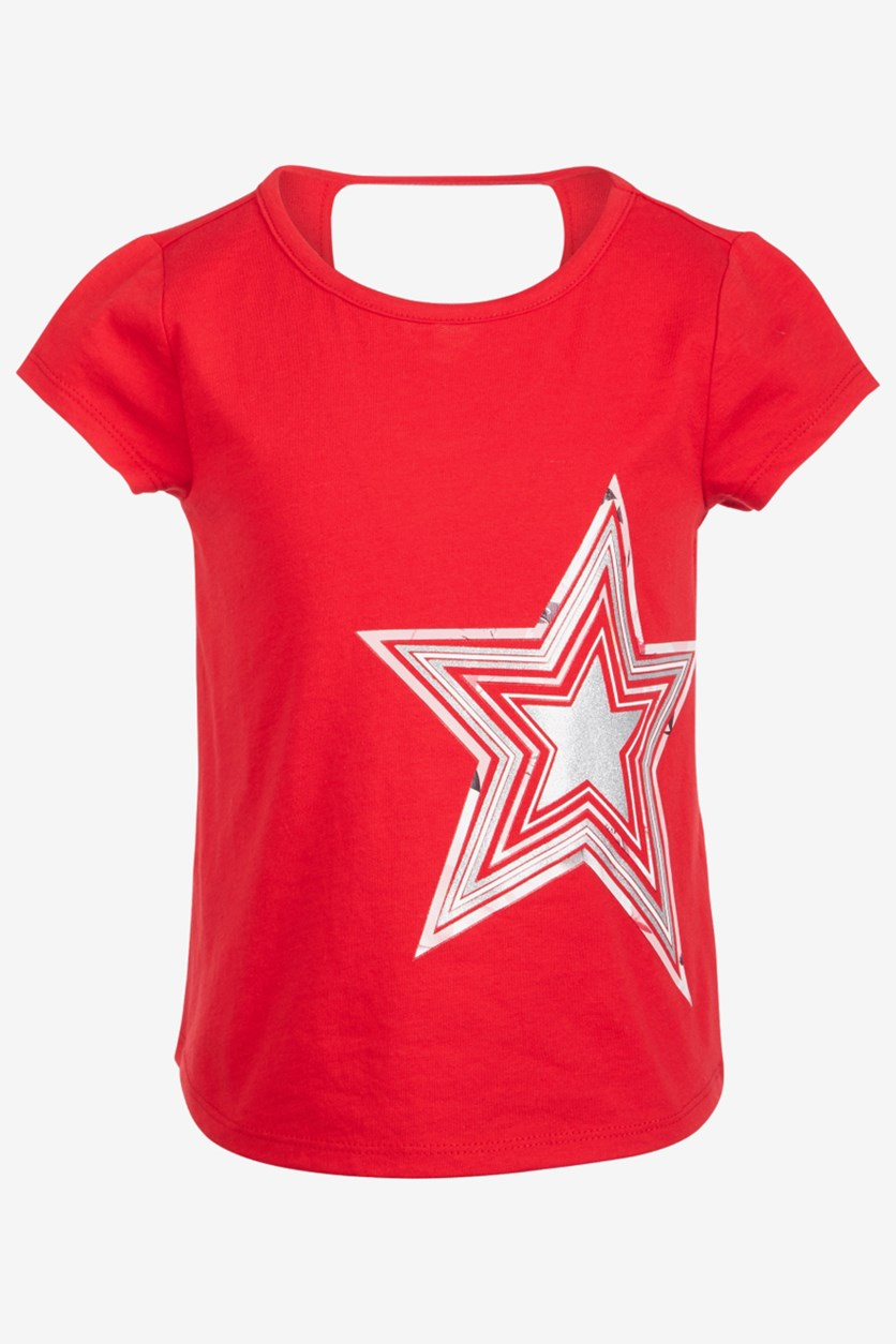 Toddler Girls Keyhole Back T-Shirt, Red