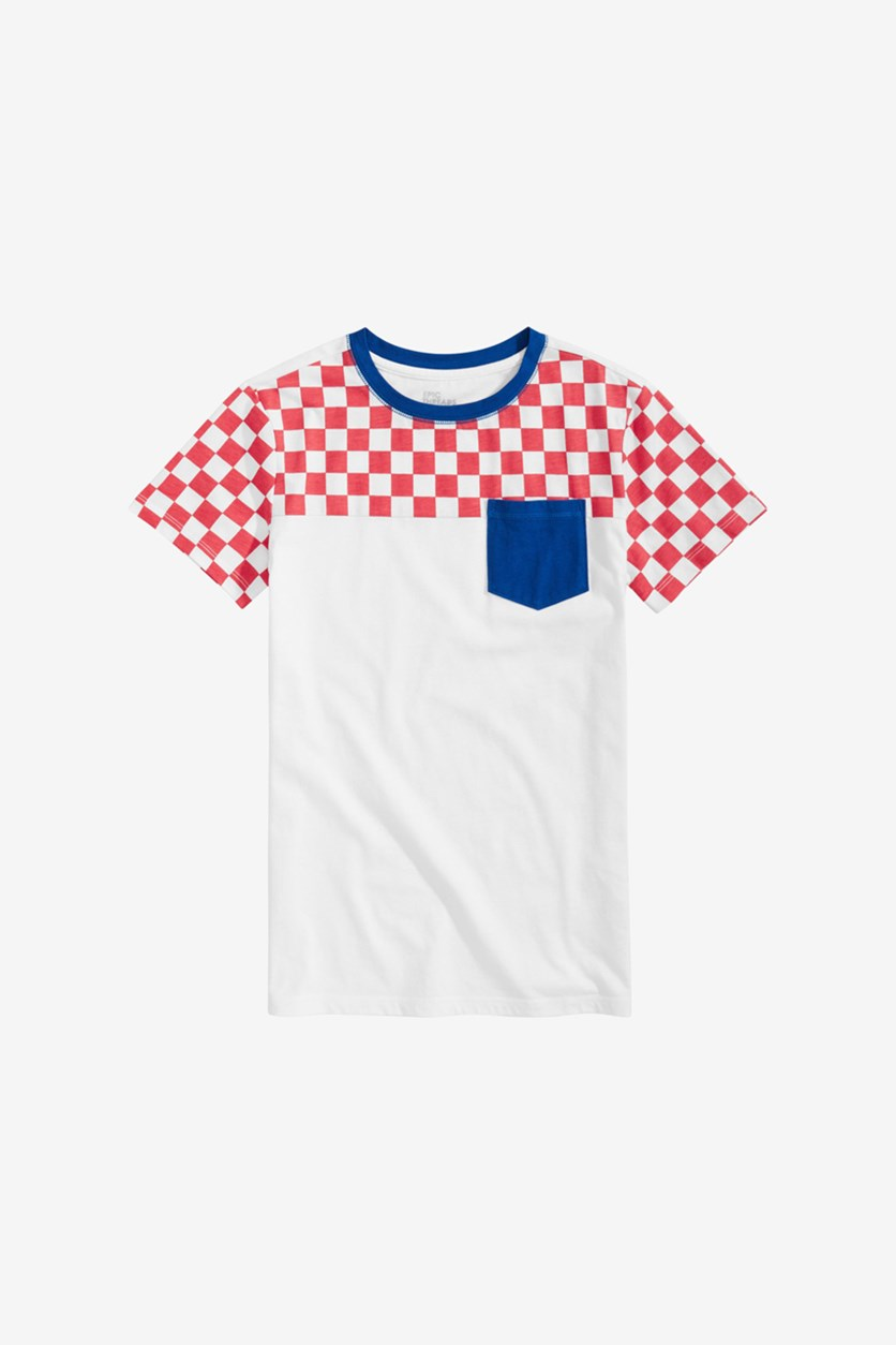 Toddler Colorblocked Checkered Pocket T-Shirt, Bright White