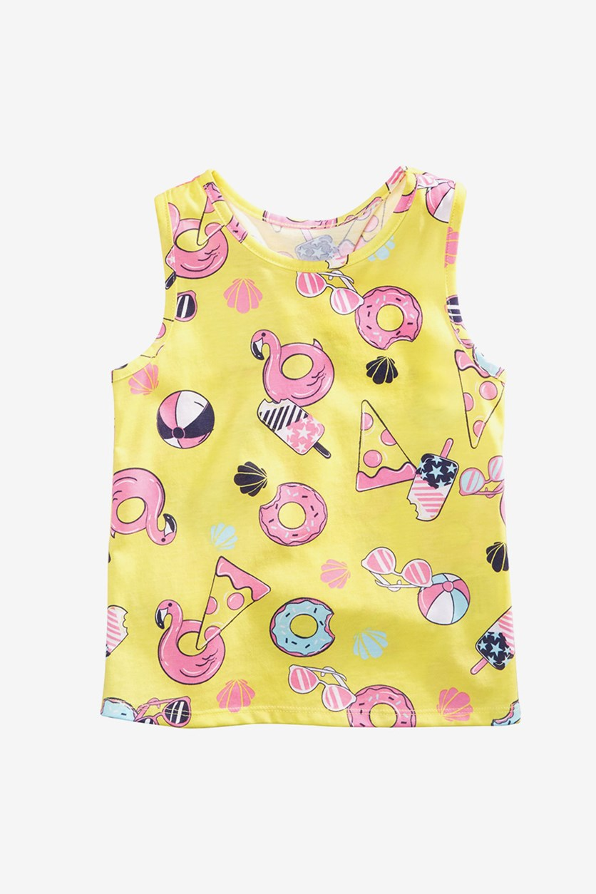 Girls Pizza & Donuts Graphic Tank Top, Yellow Cream