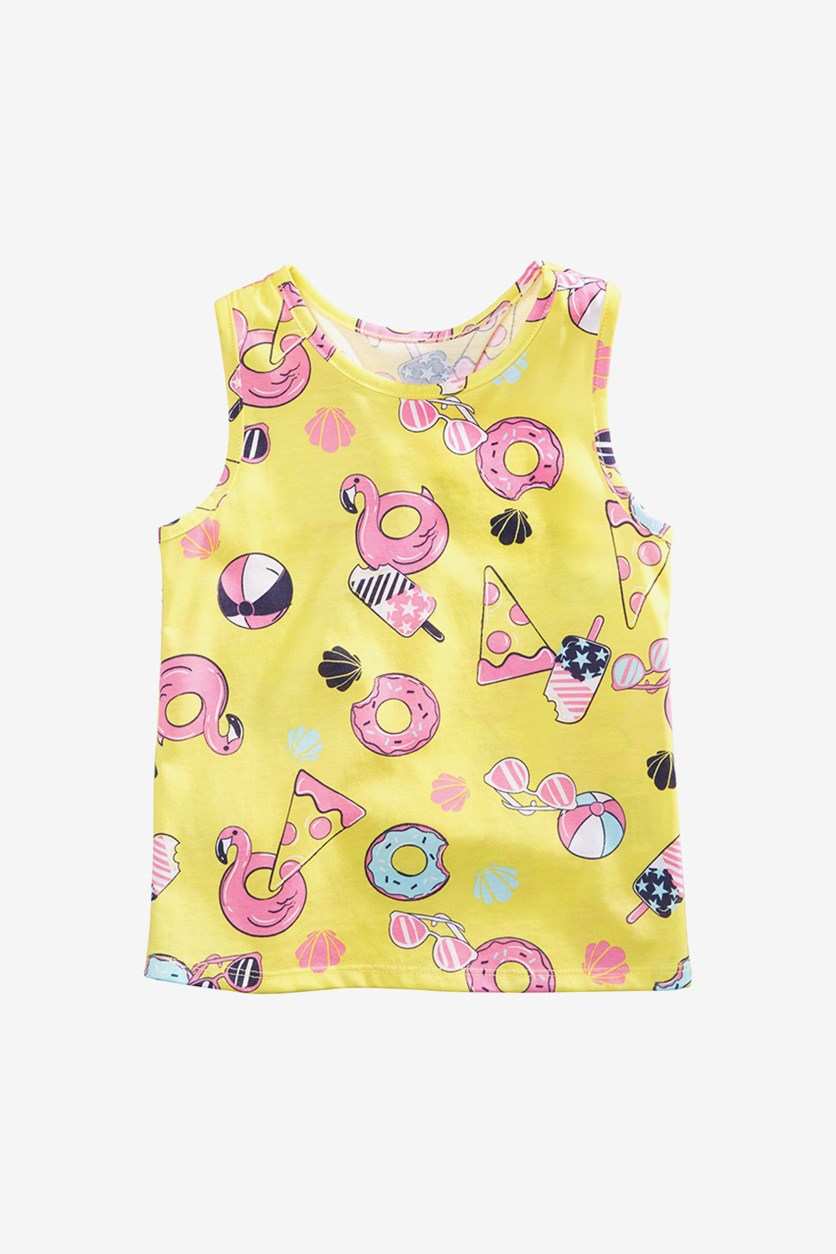 Toddler's Girls Pizza & Donuts Graphic Tank Top, Yellow