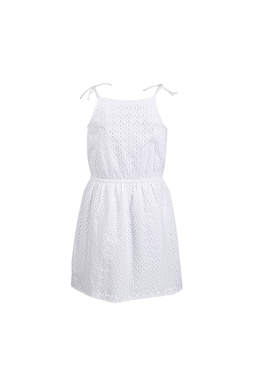 Big Girls Eyelet Tie Dress, White