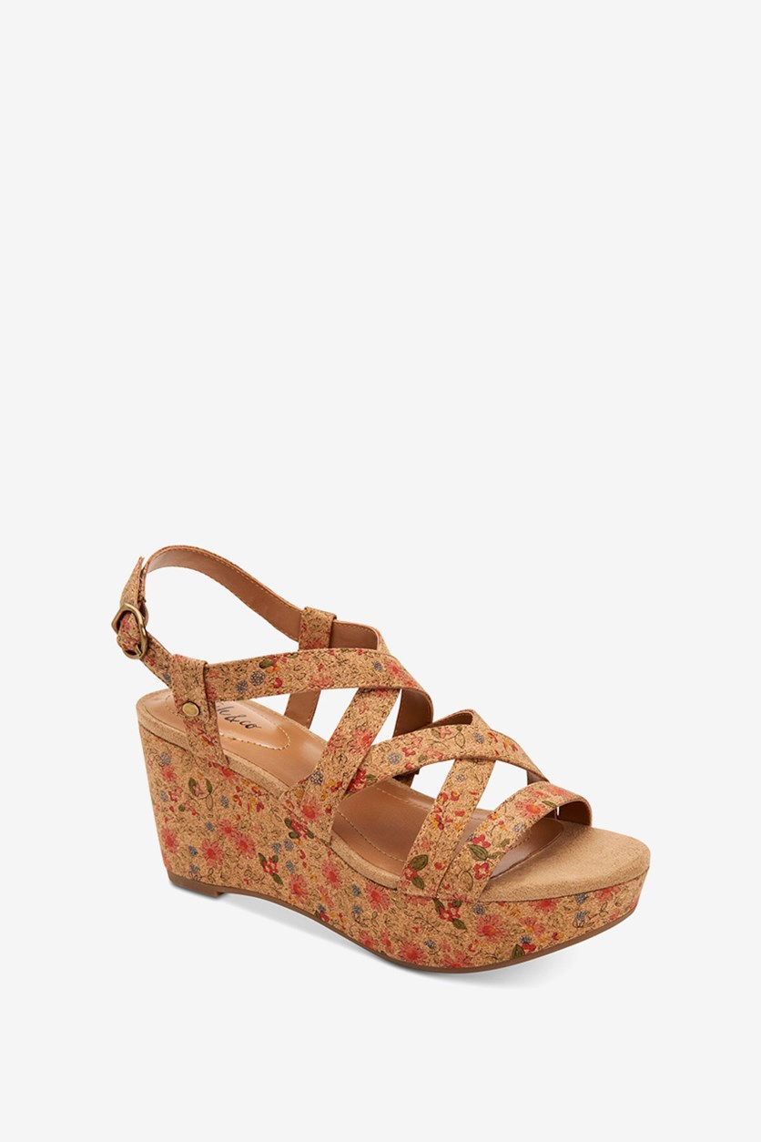 Womens Ionna Leather Open Toe Casual Platform, Disty Cork