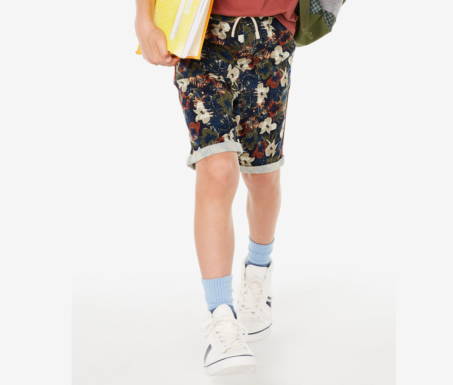 Baby Boys Stretch Floral Twill Shorts, Navy Combo