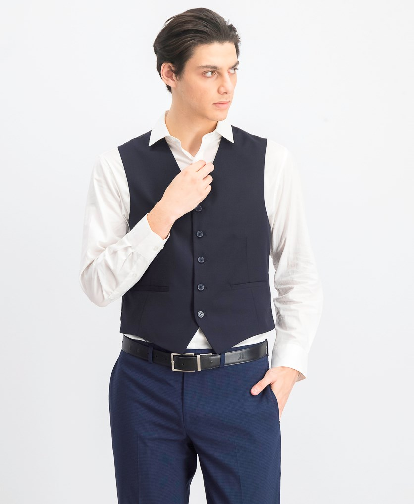 Men's Full Button Vest, Navy Blue